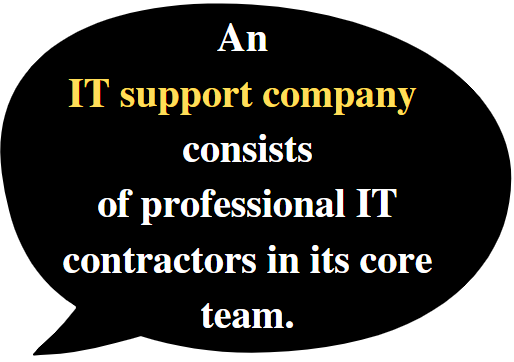 Different specialists make up an IT support company.